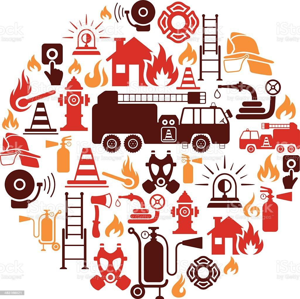 Firefighter Collage vector art illustration