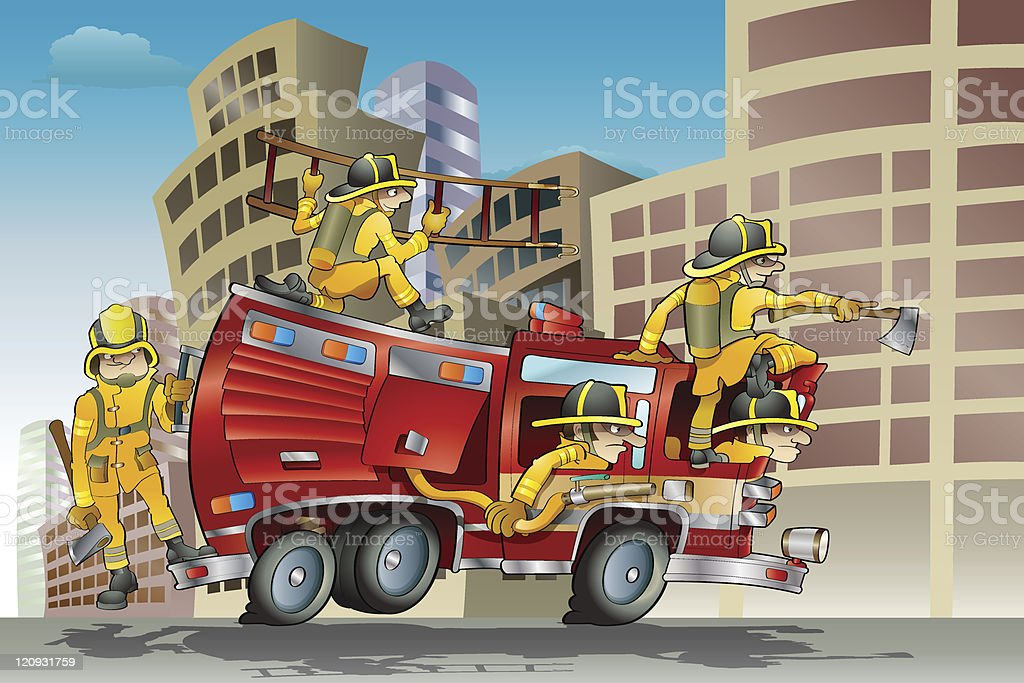 Firefighter Crew royalty-free stock vector art