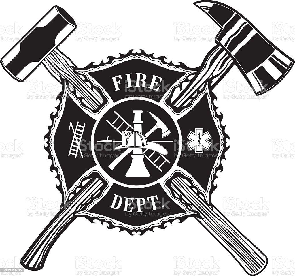 Firefighter Cross Ax and Sledge Hammer vector art illustration