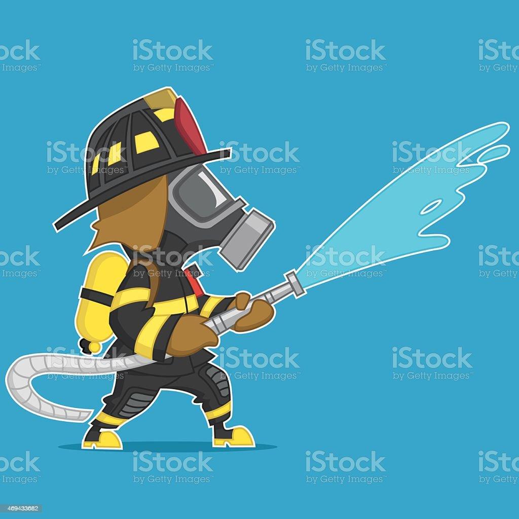 ???????? ?????. firefighter extinguishes vector art illustration