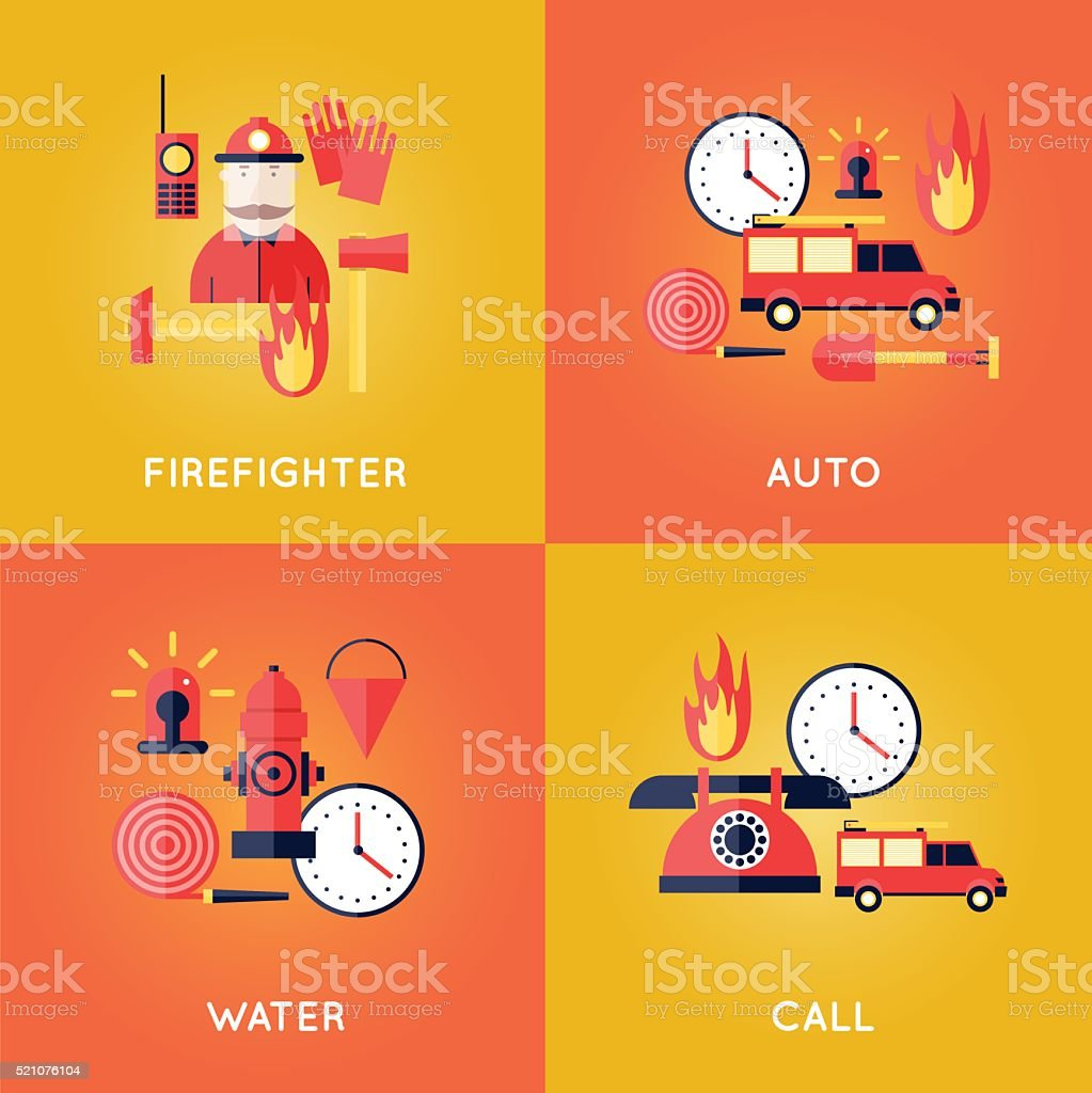 Firefighter, fire, call the fire brigade, fire extinguishing, firefighting tools. vector art illustration