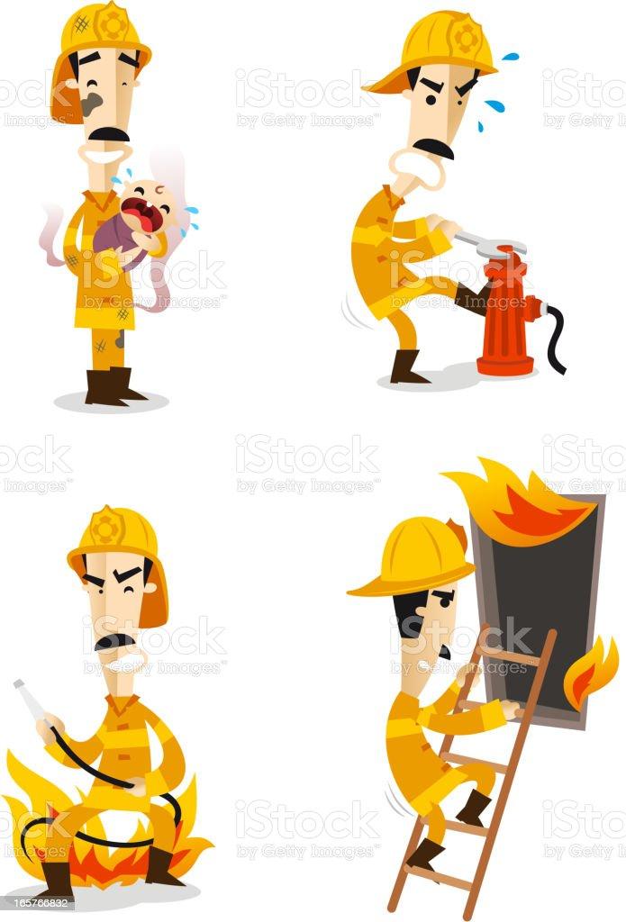 Firefighter Fire Hose Fireman Uniform Flame set 2 royalty-free stock vector art