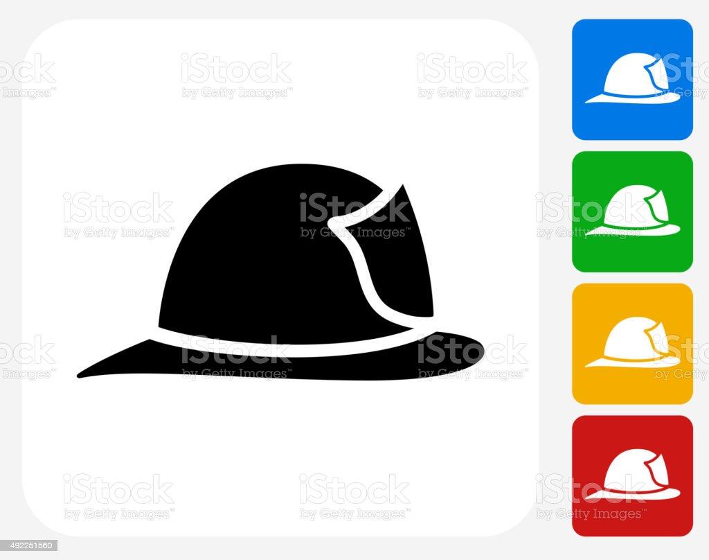 Firefighter Helmet Icon Flat Graphic Design vector art illustration