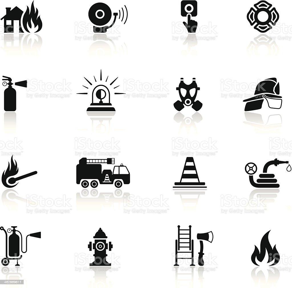 Firefighter Icon Set vector art illustration
