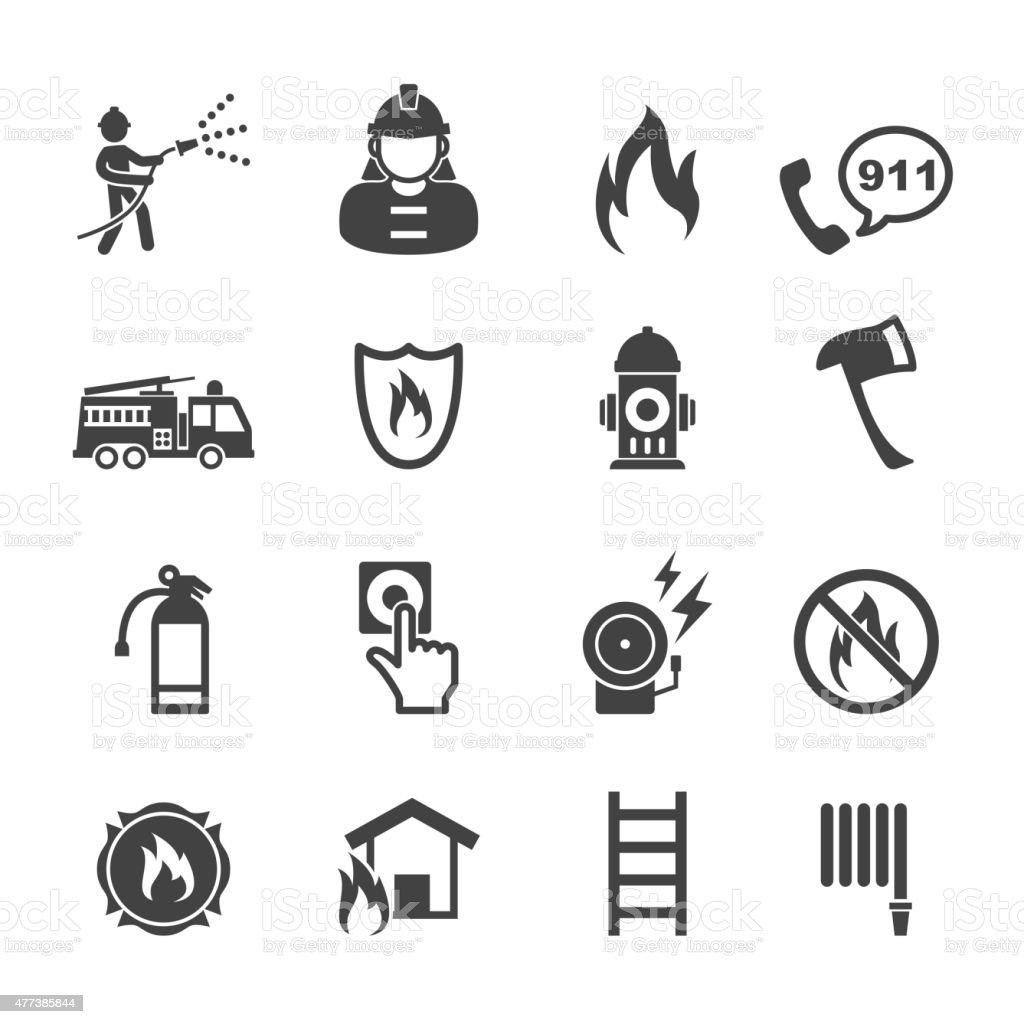 firefighter icons vector art illustration