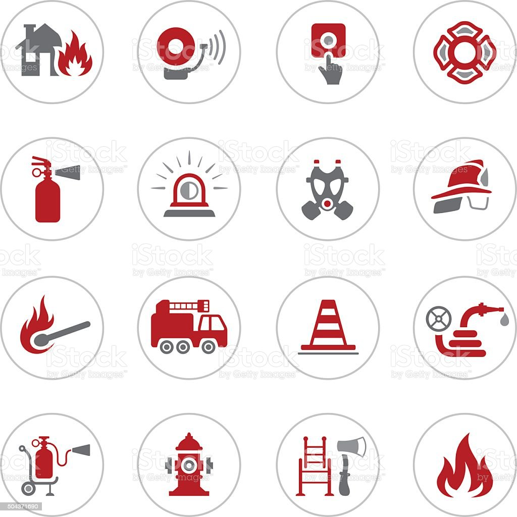 Firefighter Icons vector art illustration