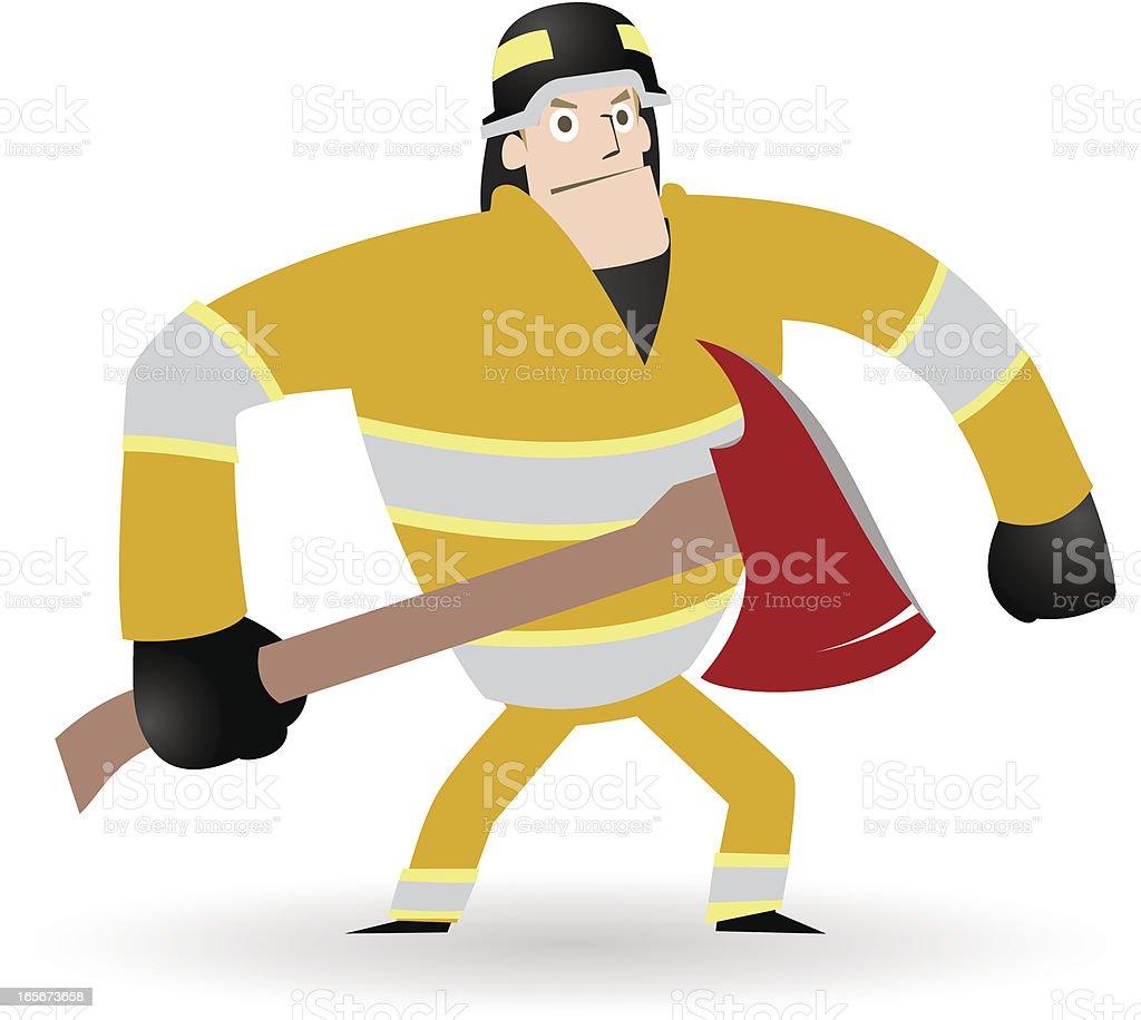 Firefighter in Action, Fireman carrying an axe vector art illustration