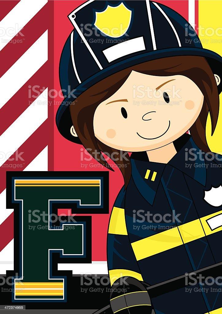 Firefighter Learning Letter F royalty-free stock vector art