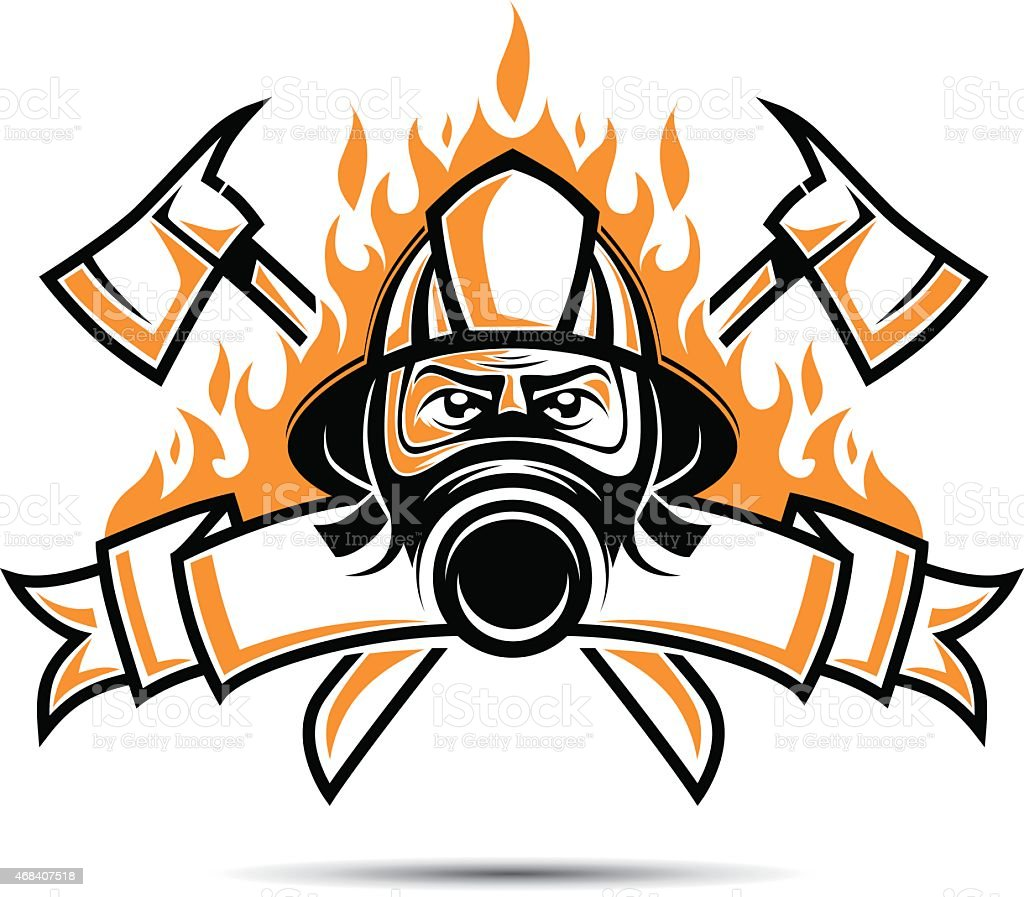 Firefighter Logo vector art illustration