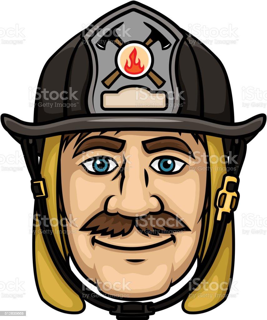 Firefighter or fireman in protective helmet vector art illustration