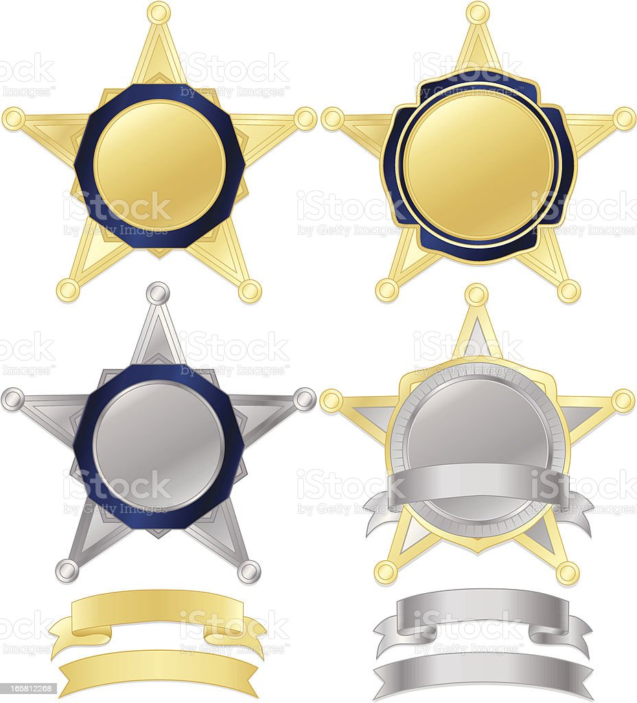 Firefighter or Police Badges Set in Metallic Gold, Silver vector art illustration