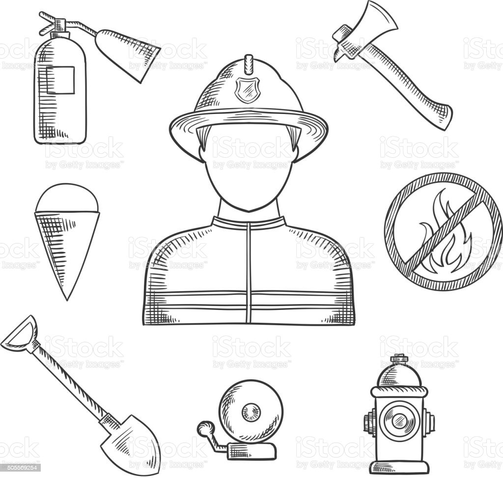 Firefighter profession hand drawn sketch icons vector art illustration