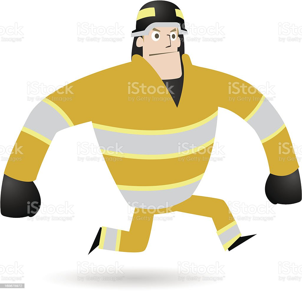 Firefighter running to save the day royalty-free stock vector art