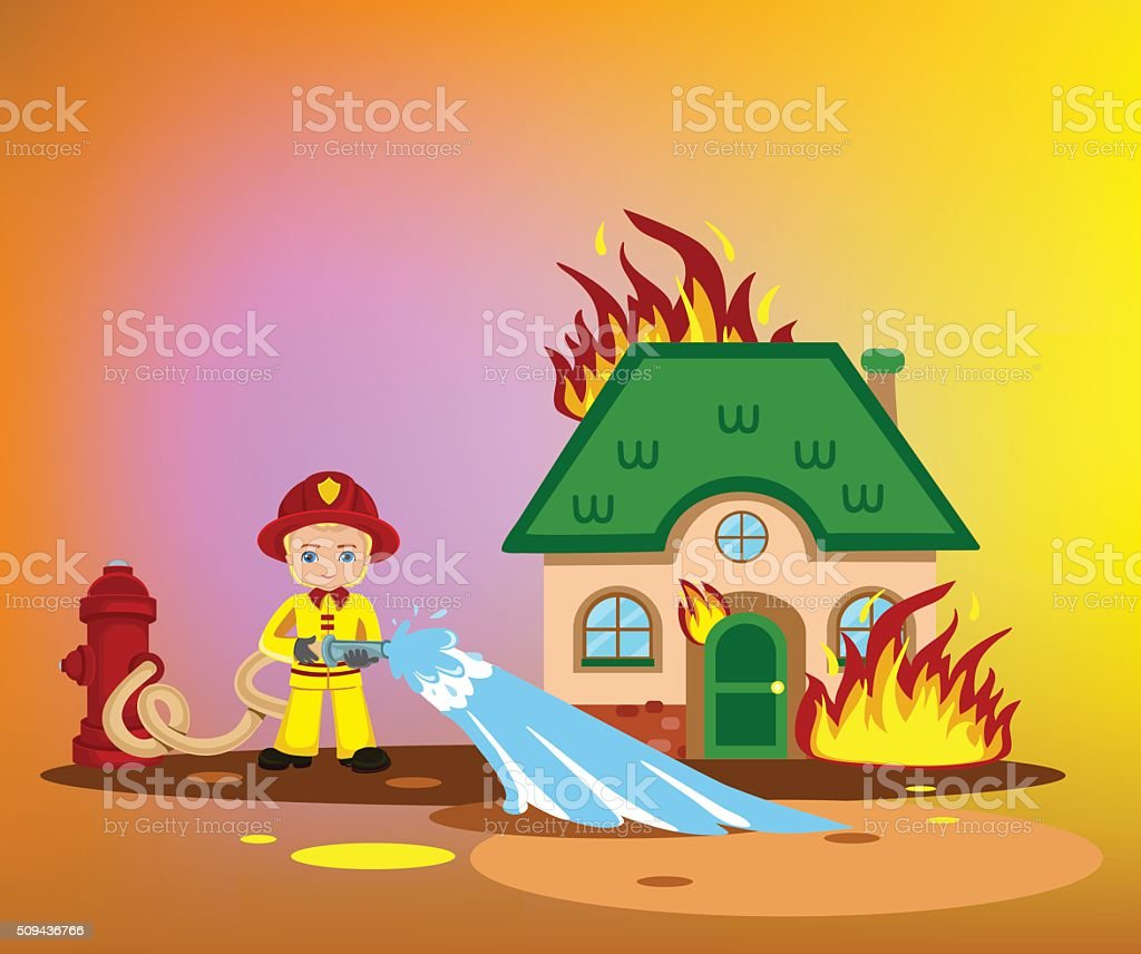 firefighter trying to put out burning house. vector art illustration