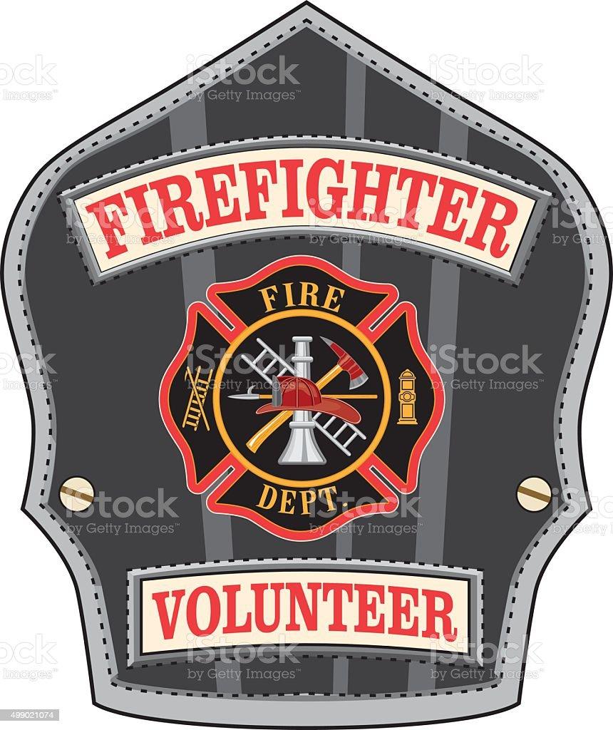 Firefighter Volunteer Badge vector art illustration