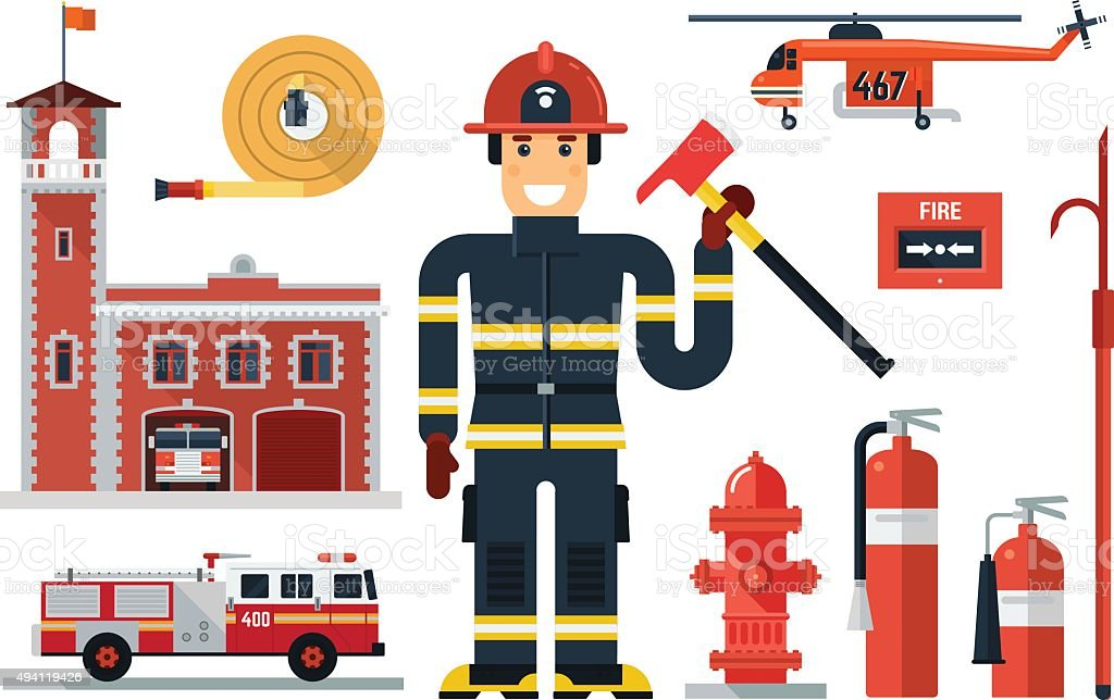 Firefighting character and fire equipment. vector art illustration
