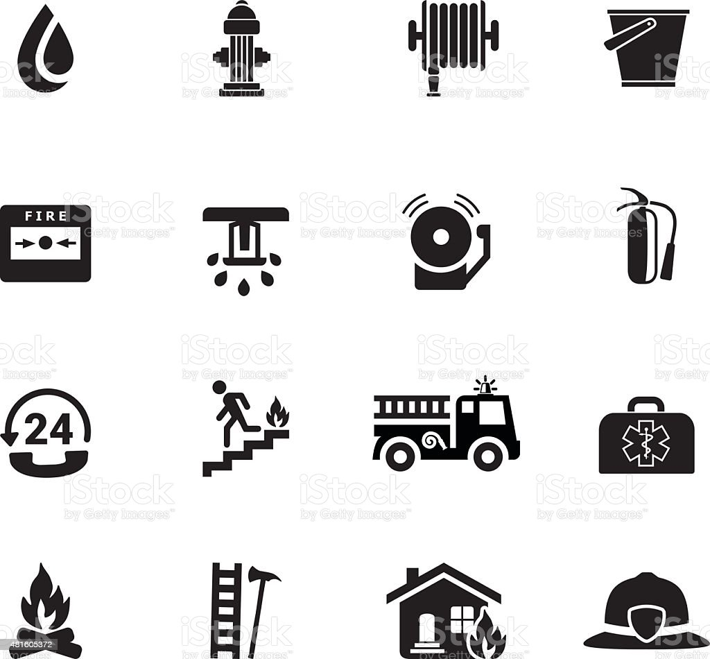 Firefighting icons, black vector art illustration