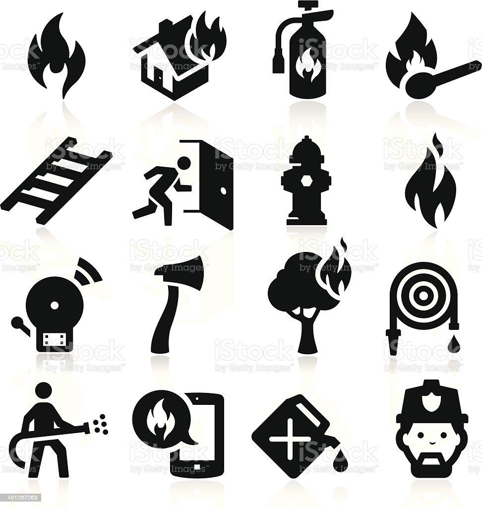 Firefighting icons vector art illustration