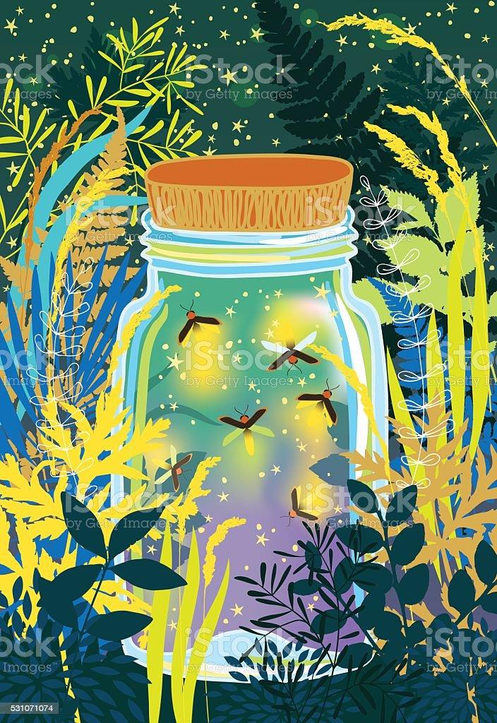 Fireflies in a Glass Jar vector art illustration