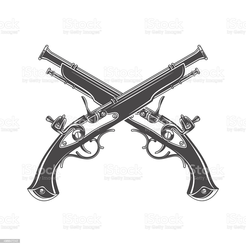 Firelock musket. Armoury template. Victorian t-shirt design. Steampunk pistol vector art illustration