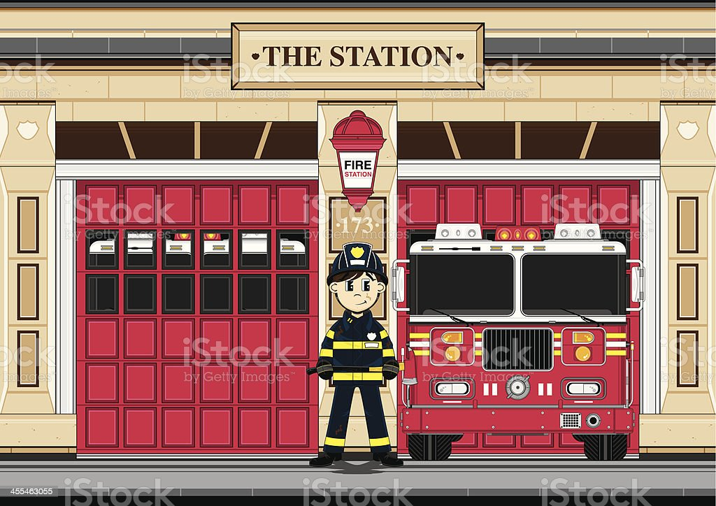 Fireman and Fire Engine at Station House vector art illustration