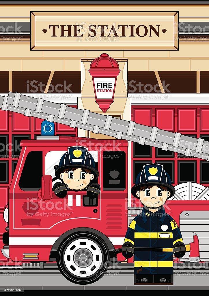 Fireman and Fire Engine Scene vector art illustration