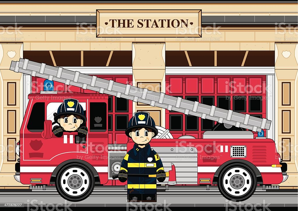 Fireman and Fire Engine Scene royalty-free stock vector art