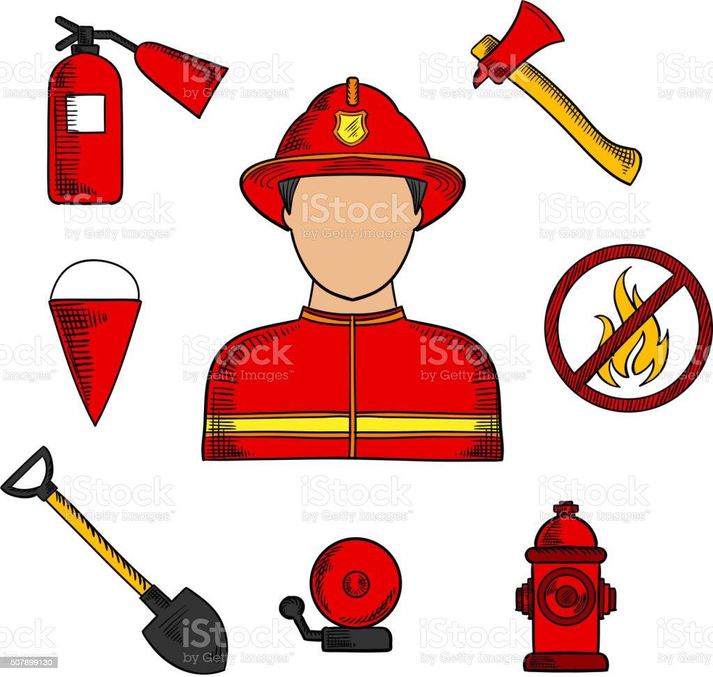 Fireman and fire fighting symbols vector art illustration
