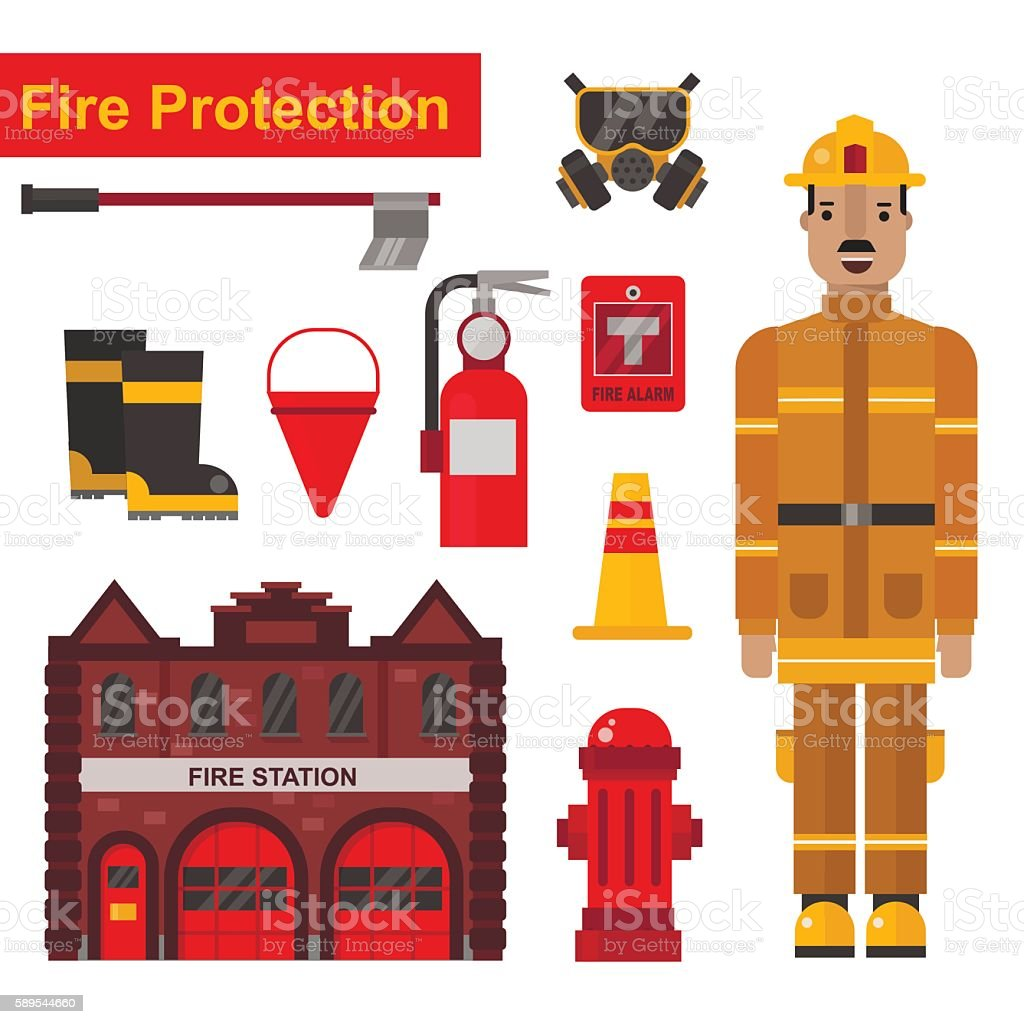 Fireman and firefighter protection equipment vector flat set. vector art illustration