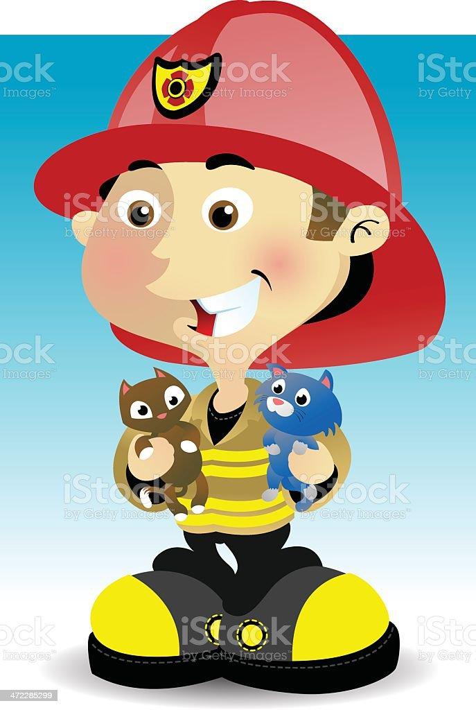 Fireman and kittins vector art illustration