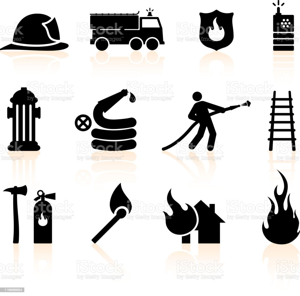 Fireman black and white  icon set vector art illustration