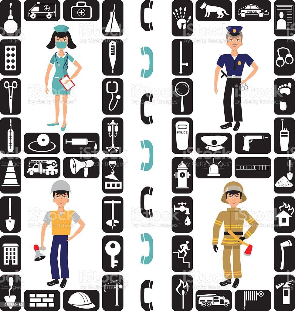 fireman, Builder, medic and police icons vector art illustration