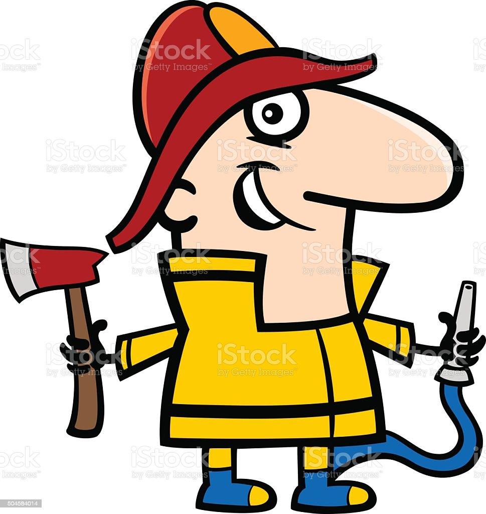 fireman cartoon illustration vector art illustration