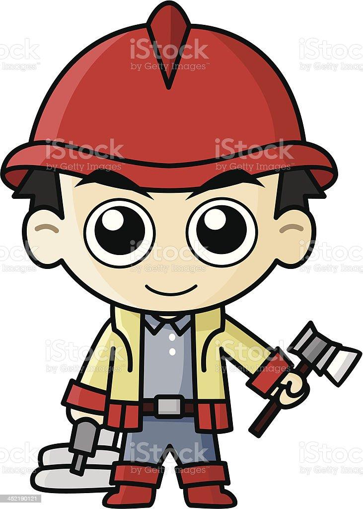 Fireman Cartoon vector art illustration
