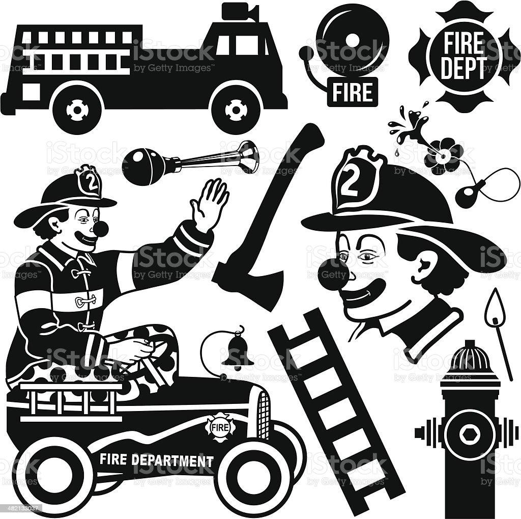 Fireman Clown vector art illustration