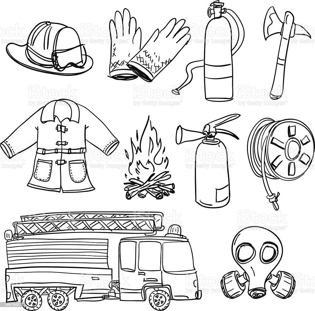 Fireman equipment in black and white vector art illustration