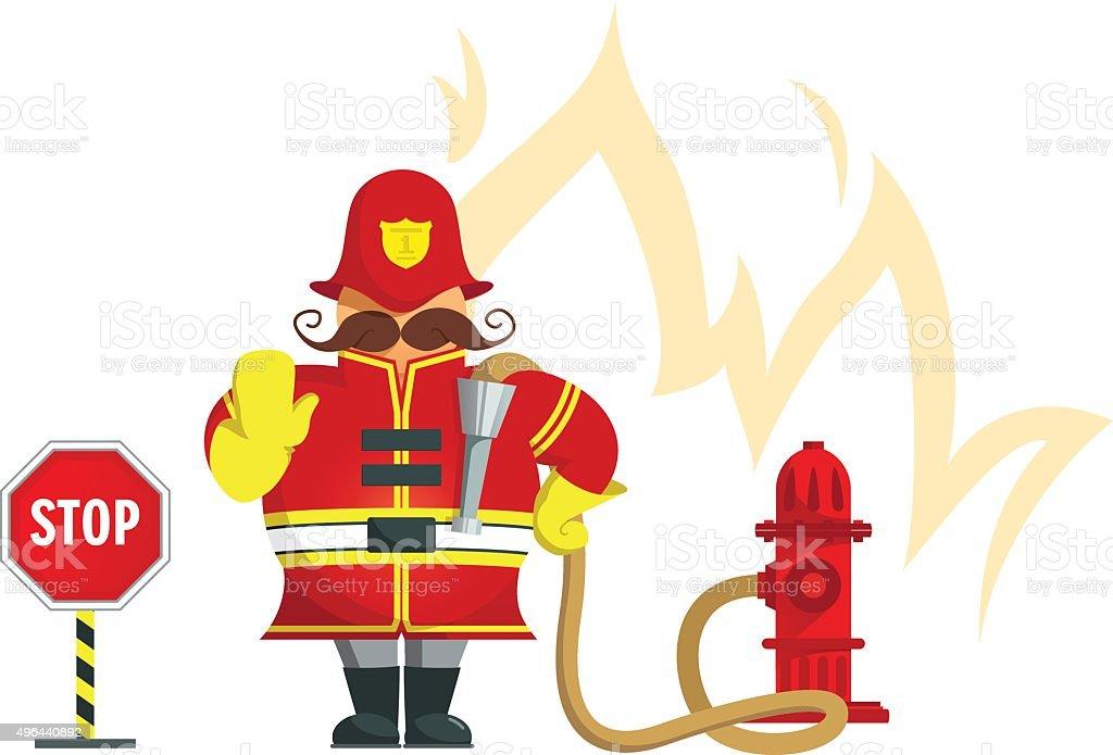 Fireman gesturing stop - Illustration vector art illustration