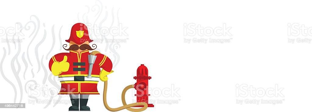 Fireman gesturing thumbs up - Illustration vector art illustration