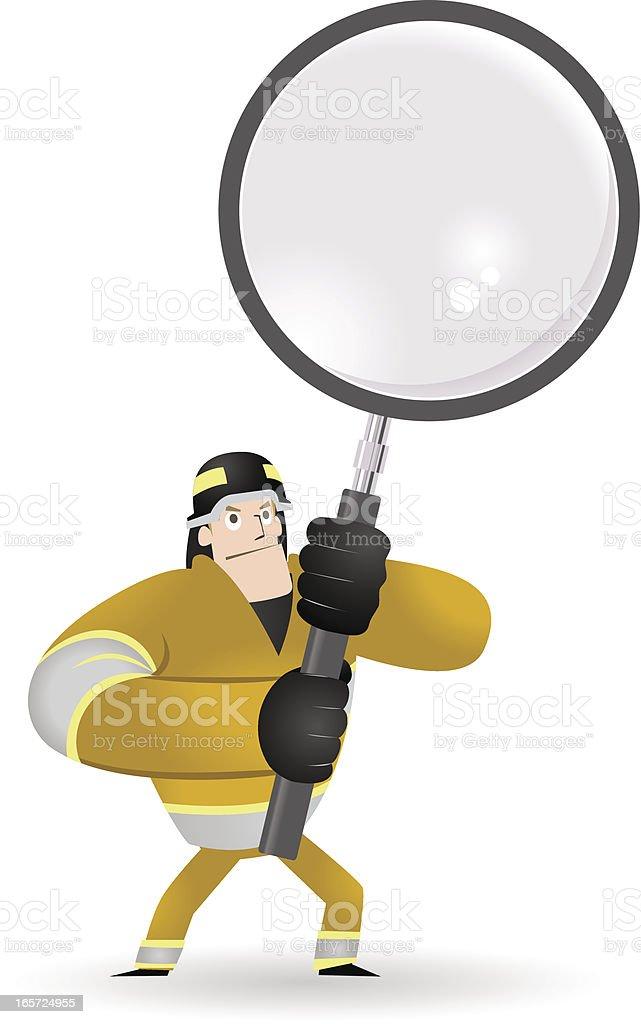 Fireman Holding A Magnifier royalty-free stock vector art