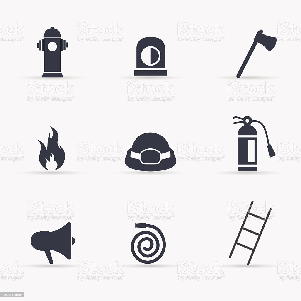 Fireman icons set. Vector illustration. vector art illustration
