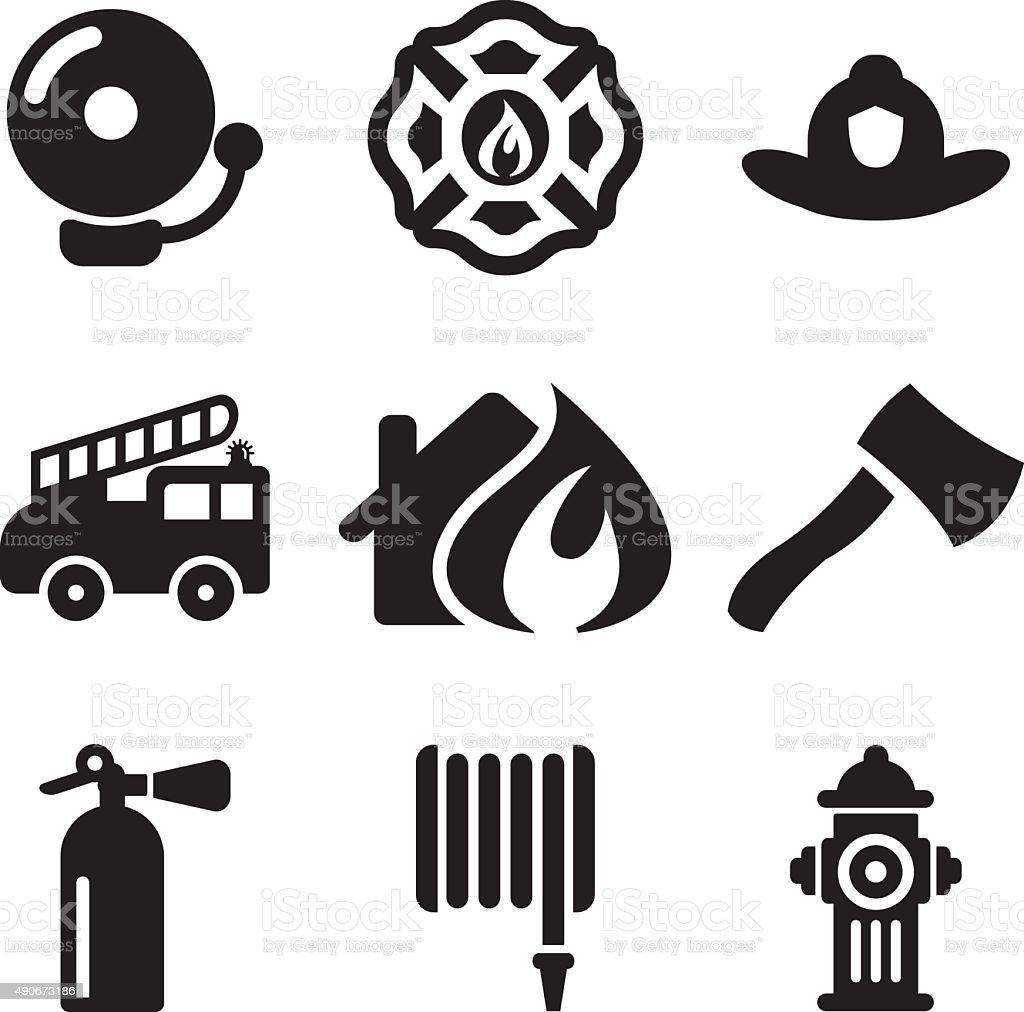 Fireman Icons vector art illustration
