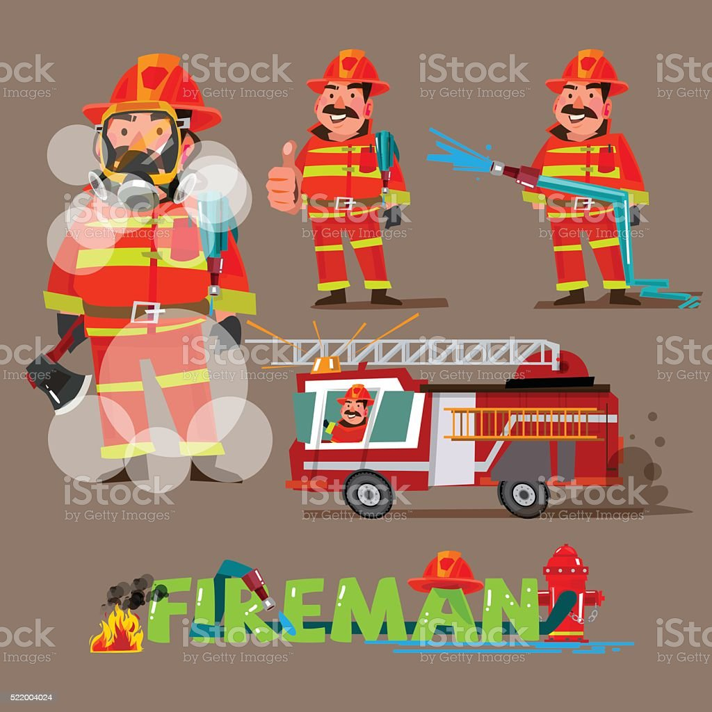 fireman in action. character set with typographic design - vector vector art illustration