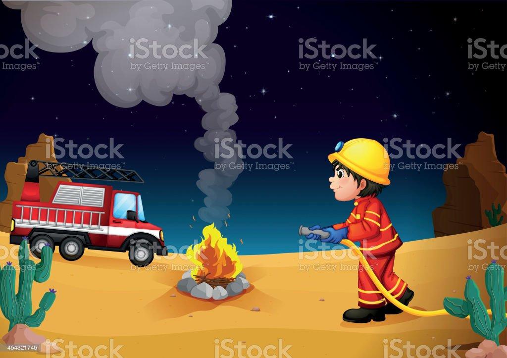 Fireman in the desert royalty-free stock vector art