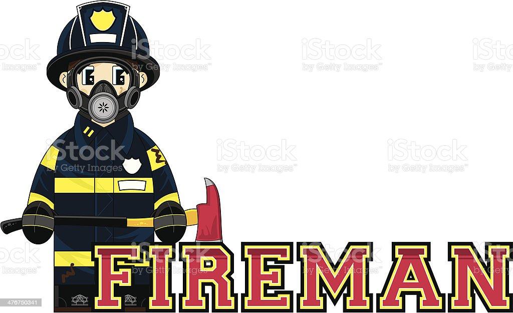 Fireman Learn to Read Illustration vector art illustration