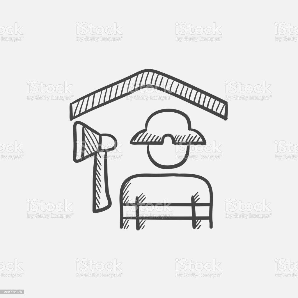 Fireman sketch icon. vector art illustration