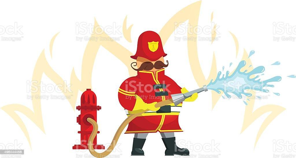 Fireman spraying a water hose - Illustration vector art illustration