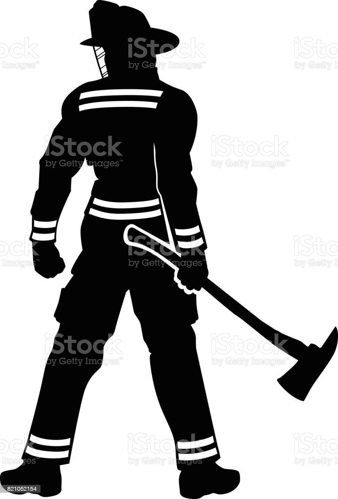 Fireman Standing vector art illustration