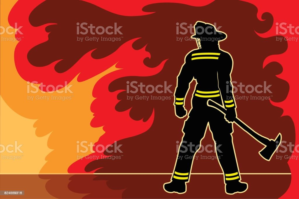 Fireman Standoff vector art illustration