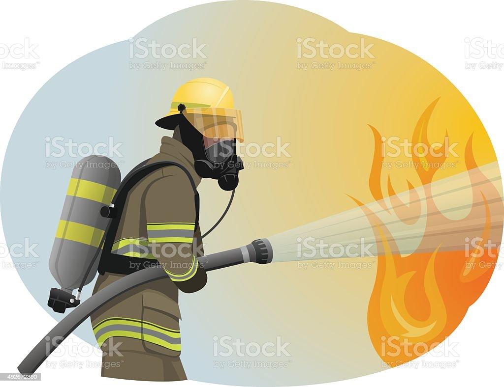 Fireman vector art illustration