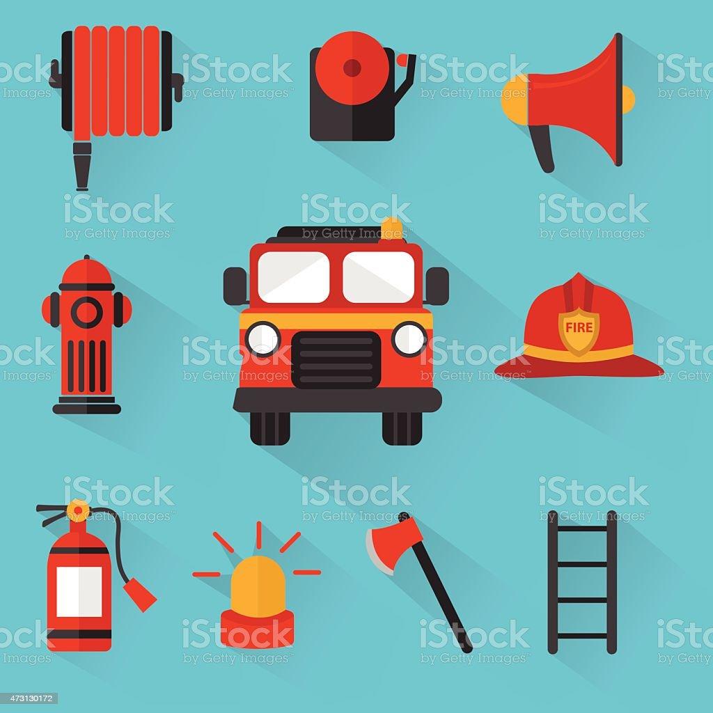 Fireman Vector , Set of firefighting equipment vector art illustration